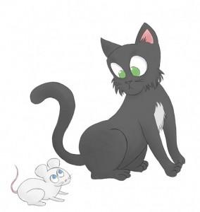 Кошка и мышка, рисунок