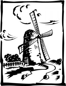 Ветряная мельница, рисунок