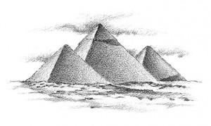 Пирамиды, Египет, рисунок ч/б
